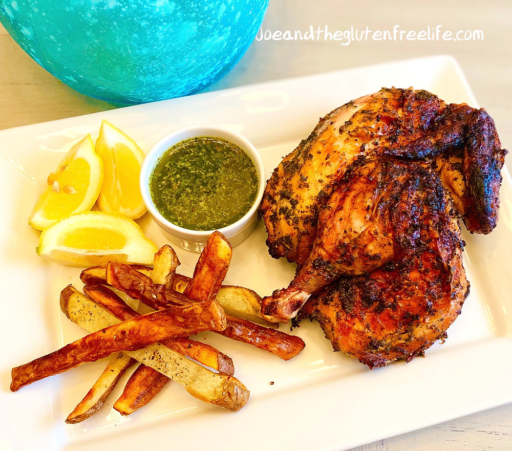 "Easy to make traditional Latin ""Pollo Al Carbón"" marinated with Chimichurri Sauce and grilled to perfection!"