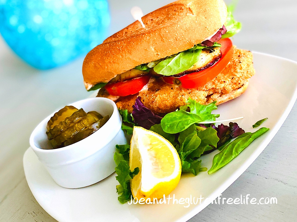 Delicious Gluten Free Fish Sandwich with Grilled Halloumi and a Spicy Garlic Aioli!