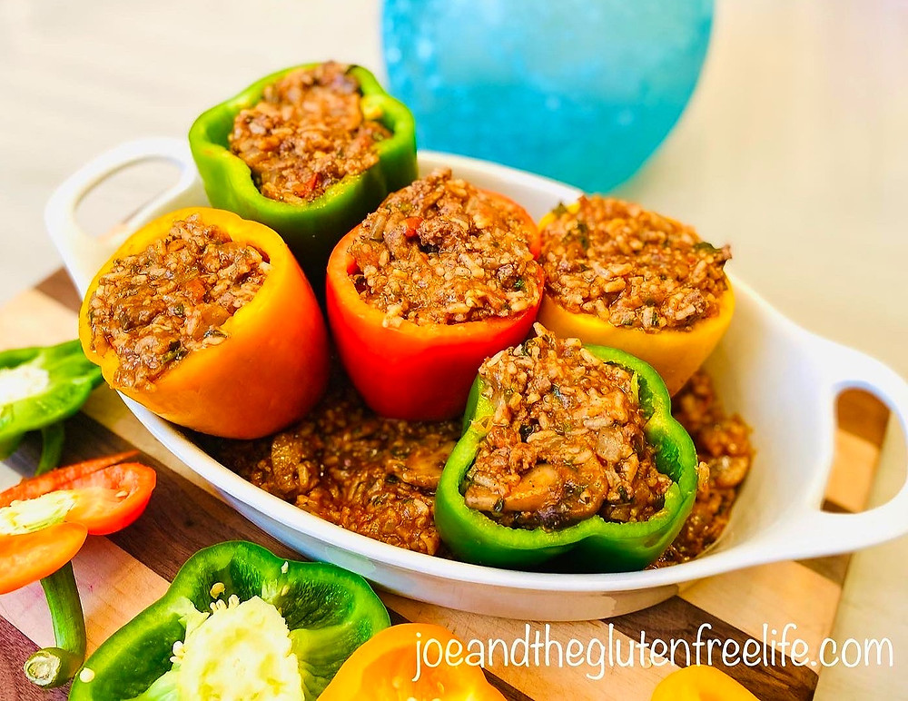 Delicious Bell Peppers stuffed with ground beef, mushrooms, and rice and roasted to perfection!