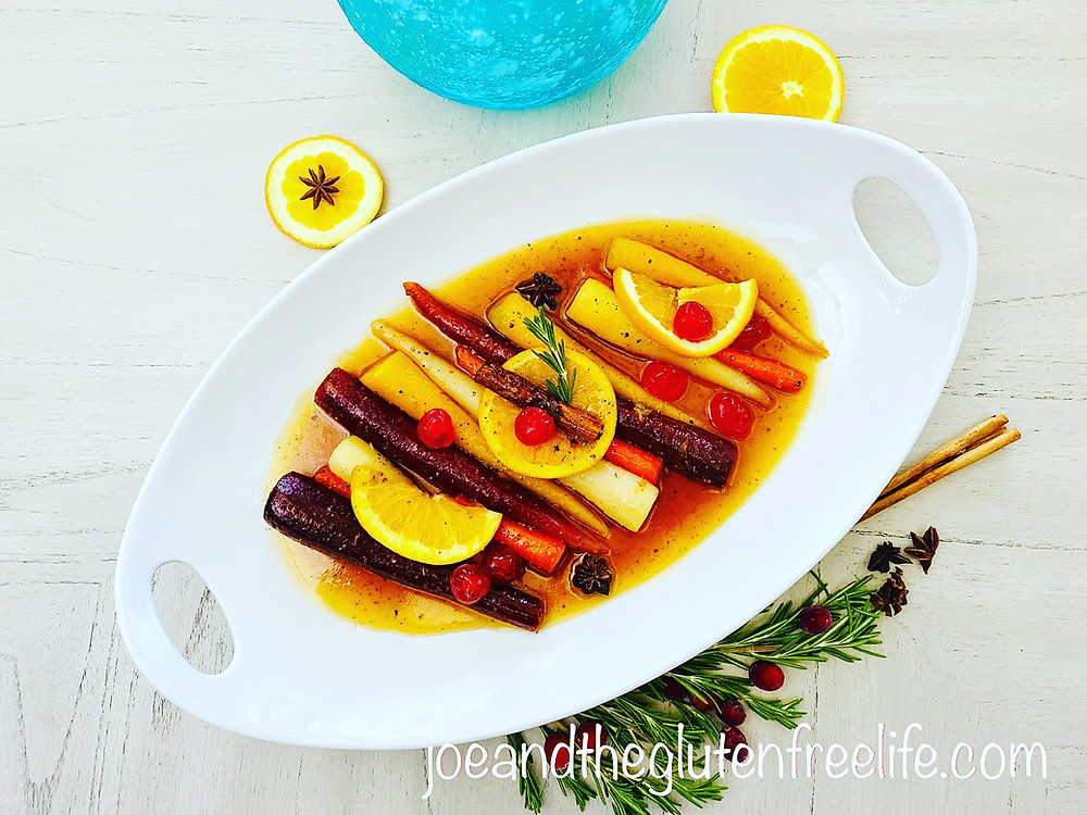 Delicious rainbow carrots glazed in a honey orange ginger sauce.