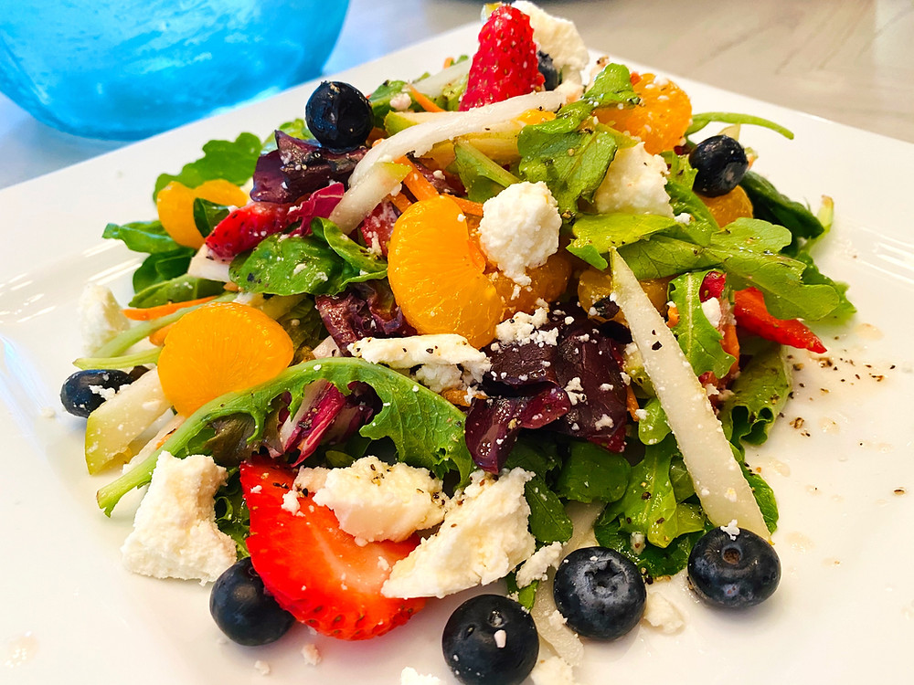 Pear Salad with Fresh Berries, Baby Greens and Queso Fresco