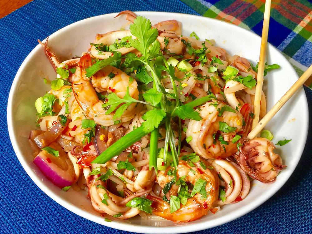 Thai Inspired Spicy Prawns & Squid