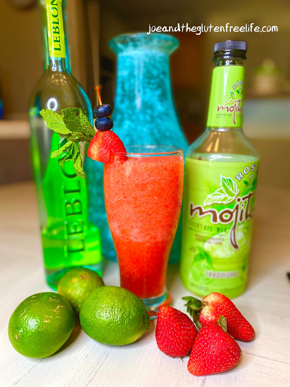 Refreshing and easy to make 5-minute strawberry mojito made with Cachaça!