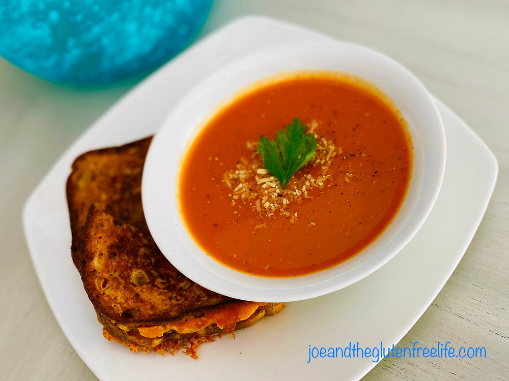 A delicious tomato soup made from scratch with fresh ingredients and 100% gluten free, vegetarian, vegan, healthy, and delicious!
