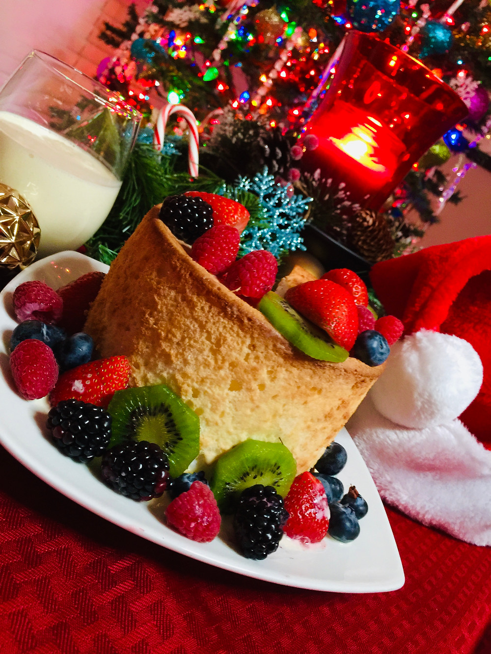 Joe's Eggnog Angel Foot Cake with Assorted Berries