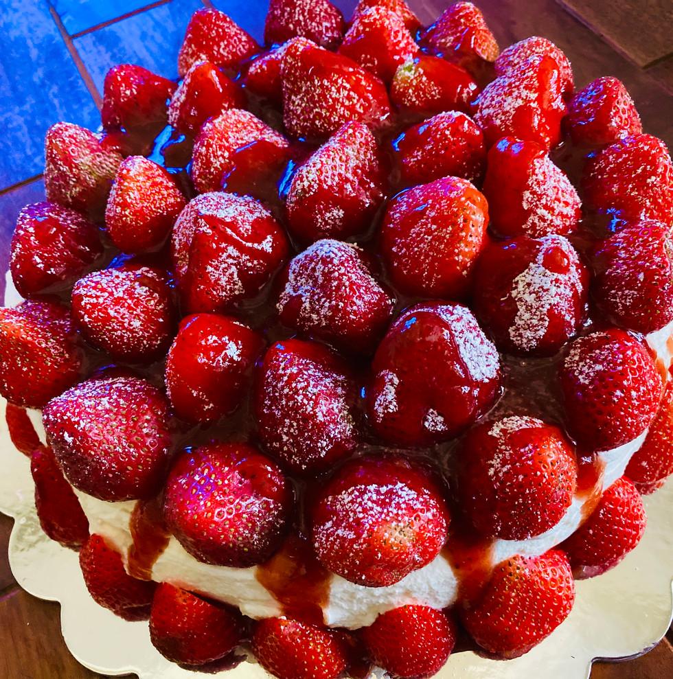 Orange Cheesecake with Fresh Strawberries