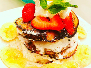 Gluten Free Banana Pancakes with Strawberries & Cream