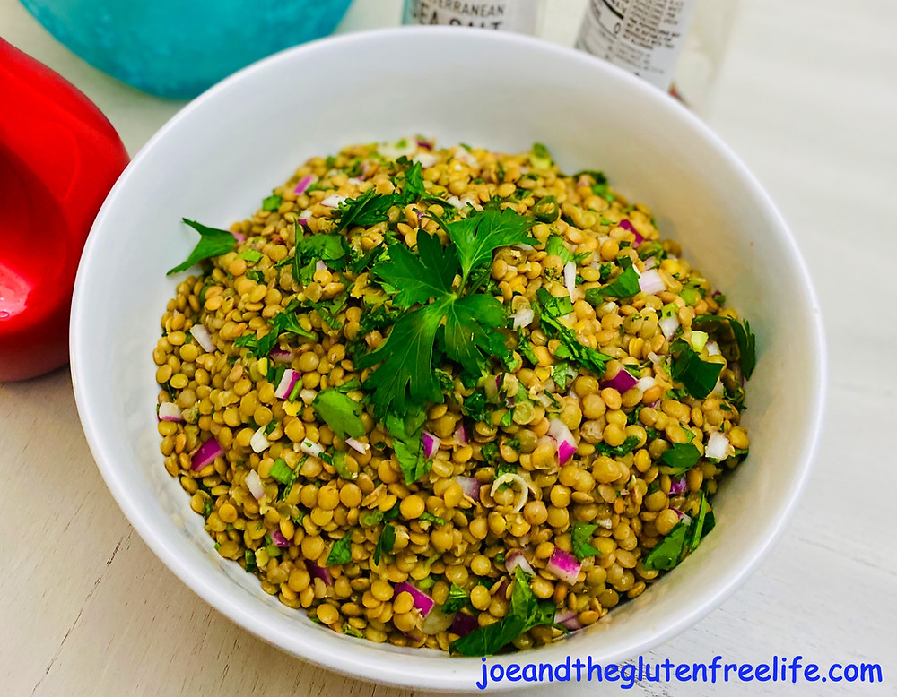 Easy to make Middle Eastern lentils salad with red onion, garlic, mint, parsley, and green onions!