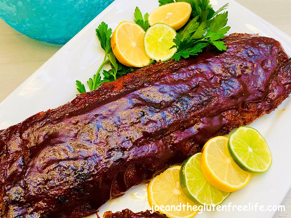 Succulent ribs with a homemade dry rub and finished with your favorite BBQ sauce.