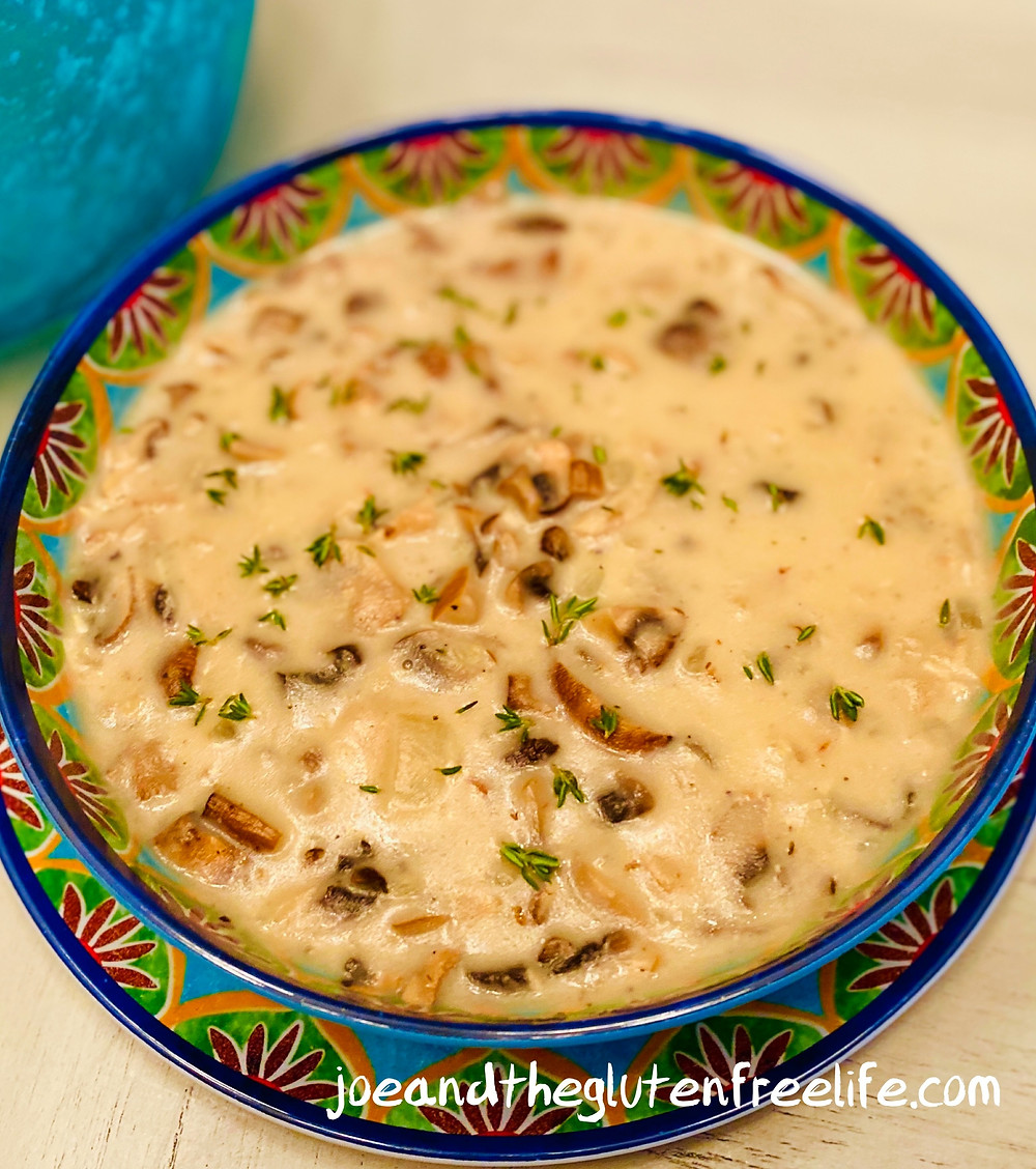 Easy to make and delicious Cream of Mushrooms with roasted garlic and fresh herbs!