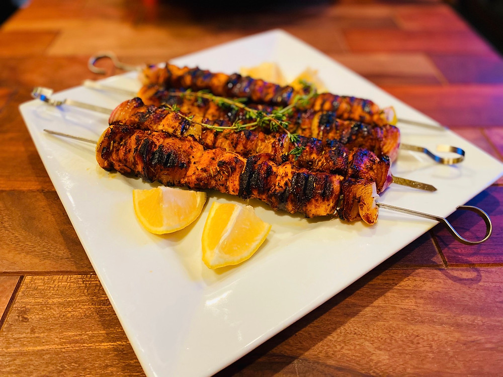 Marinated in yogurts and spices,  these skewers are delicious!
