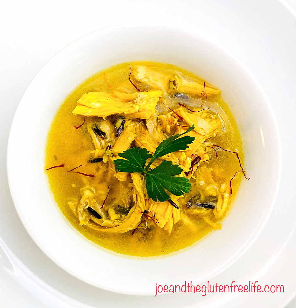 Delicate and easy to make  Middle Eastern chicken soup with saffron and wild rice.