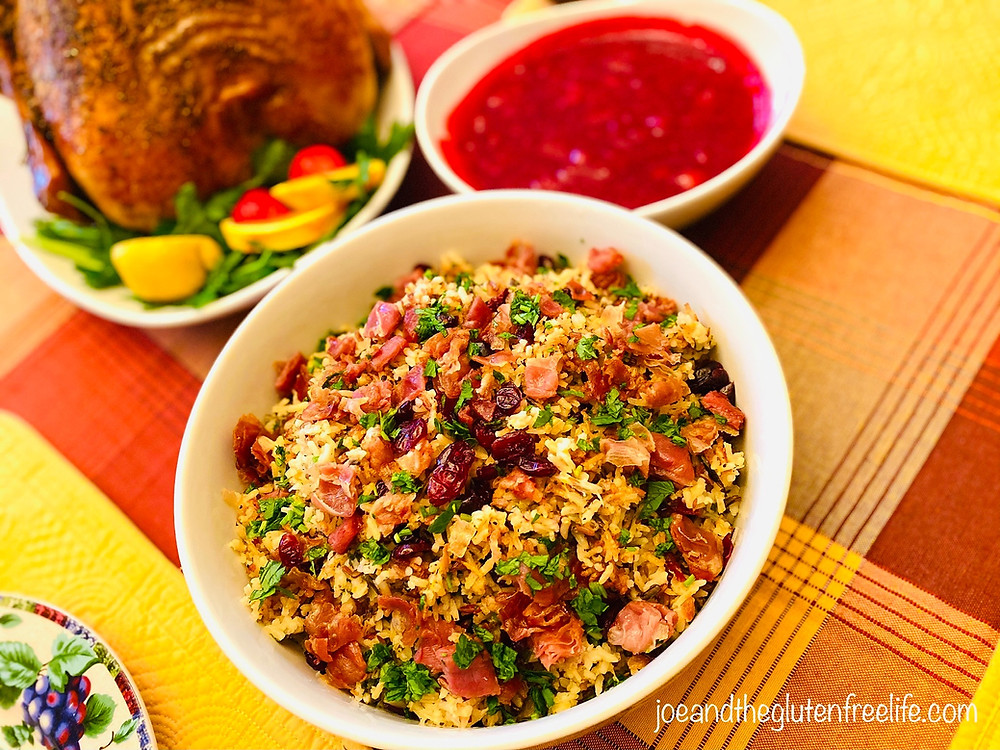 A wonderful blend of wild rice, prosciutto, cranberries, walnuts with a kick! Perfect for a Holiday dinner!
