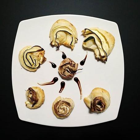 Roselline e Rotolini di Sfoglia, Stracchino aromatizzato, melanzane bianche e zucchine grigliate