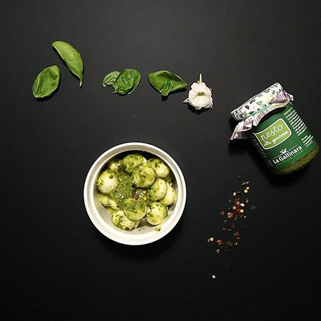 Mozzarelline di Bufala, Lime, Pesto genovese e peperoncino
