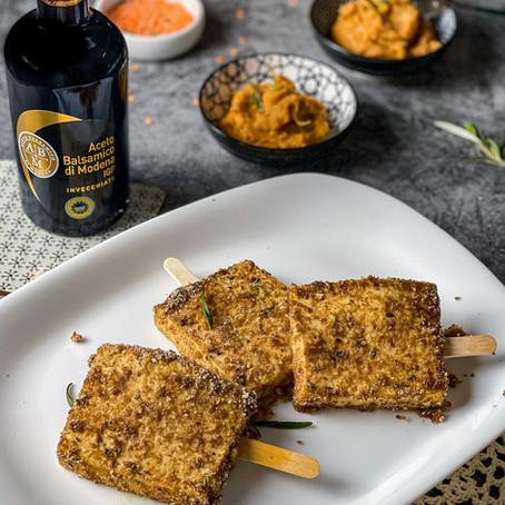 Tofu su Stecco all'aceto Balsamico di Modena IGP ed Hummus di Lenticchie Rosse