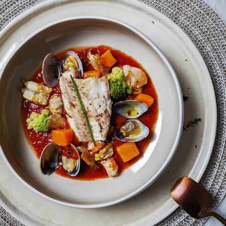 Gallinella in guazzetto con frutti di mare