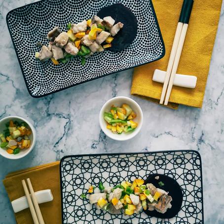 Insalata di Merluzzo Carbonaro e coriandoli di verdure
