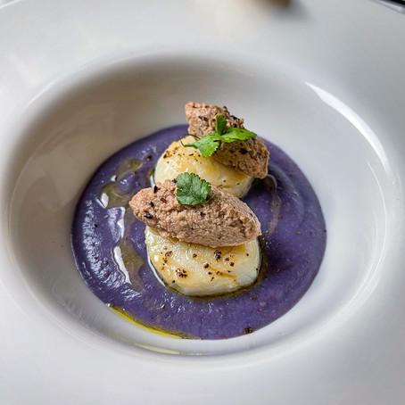 Capasanta, foie gras e crema di patata viola