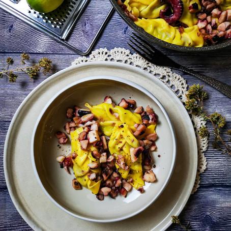 Culurgiones (lime e patata dolce) al ragu bianco di Polpo