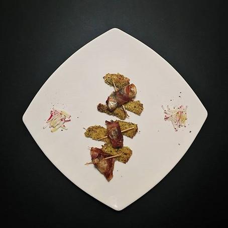 Sarde al profumo di agrumi Gratinate Sarde al Gratin in crosta di Pancetta Affumicata