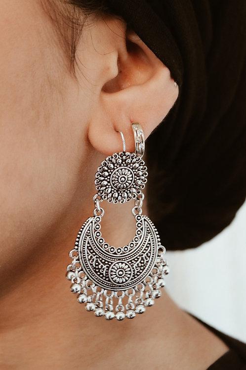 Flower & Crescent Earrings