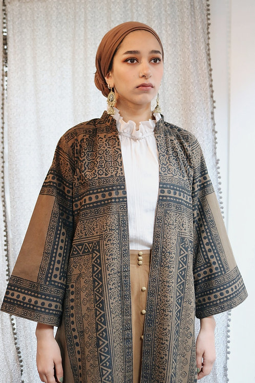 Khaki / Grey Block Print Long Kimonos