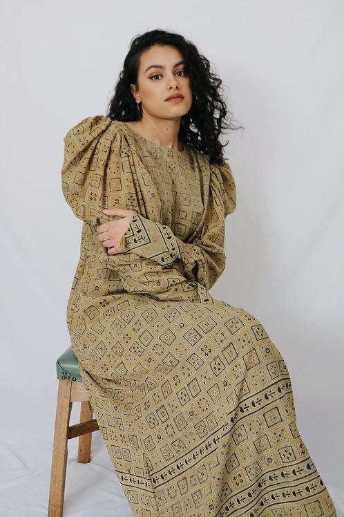 Sand Ajrak Maxi Dress