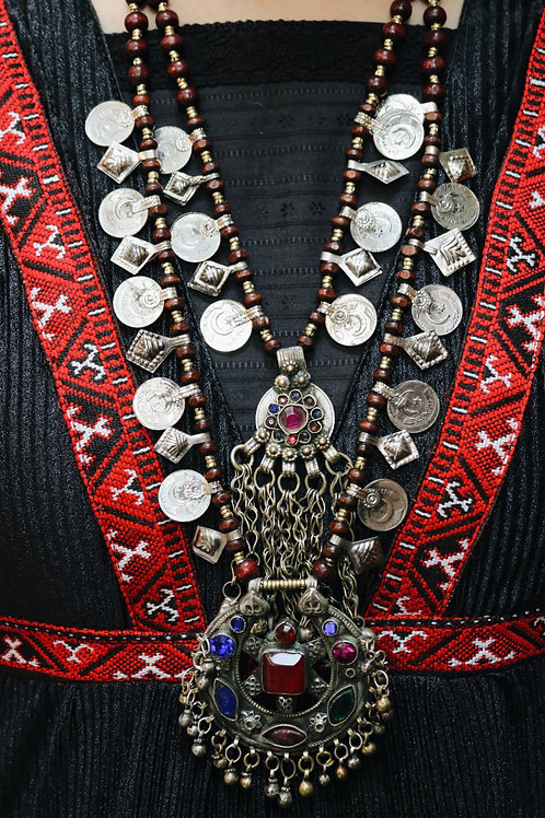 Antique Double Layer Kuchi Coin Necklace II