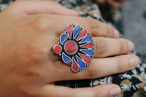 Red & Blue Nepali Ring