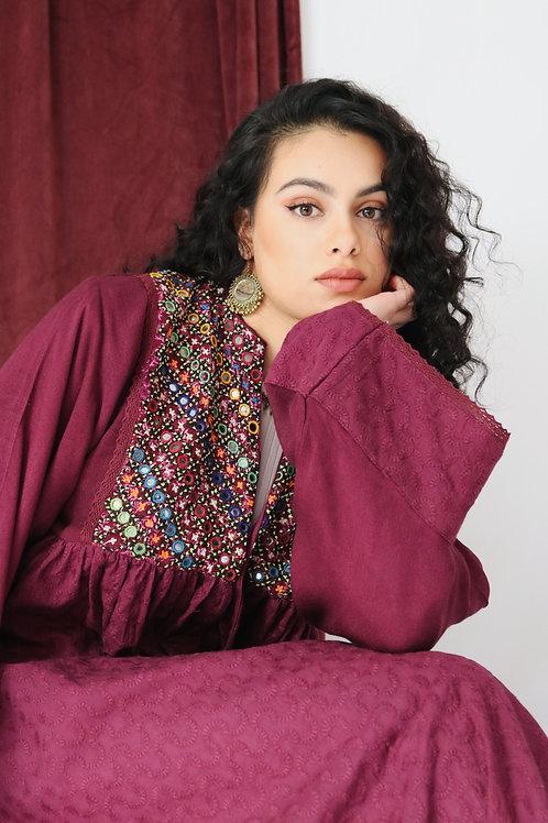 Plum Balochi Kimono