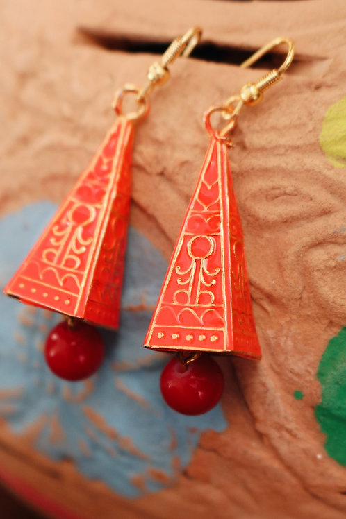 Meenakari Pyramid Earrings