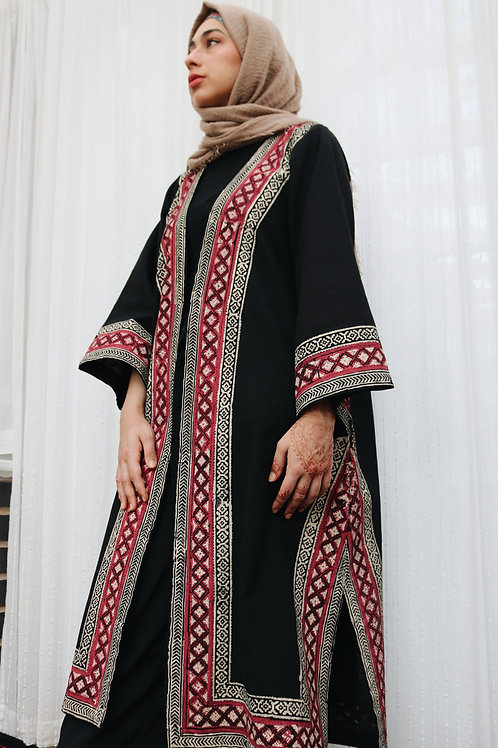 Black Block Print Kimono