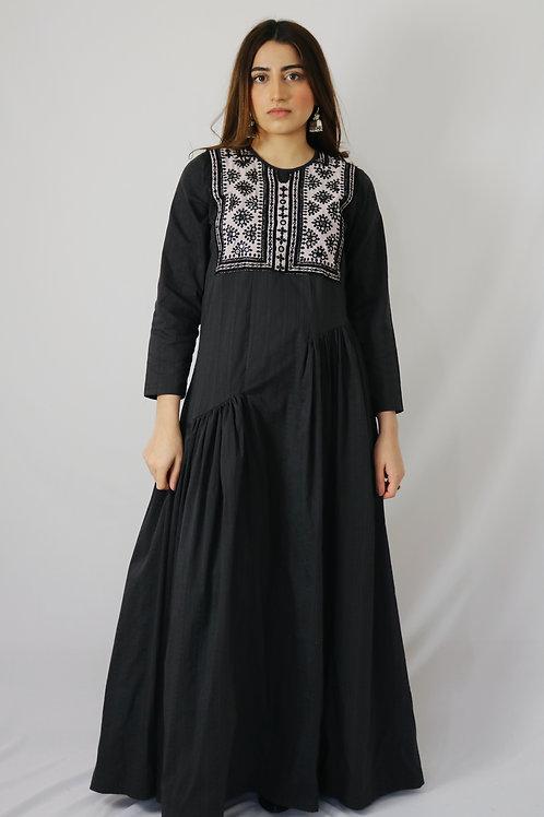 Black & White Mirrorwork Asymmetrical Dress II
