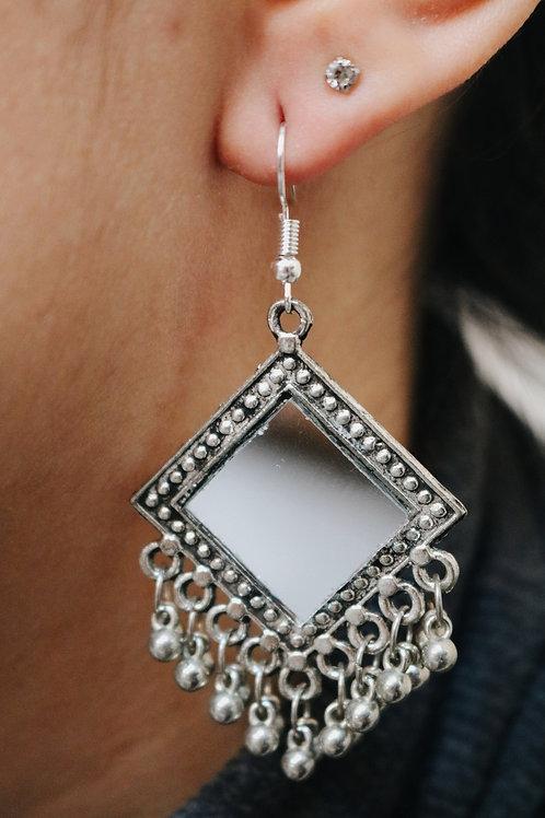 Diamond Mirror Earrings with Bells / Tassels
