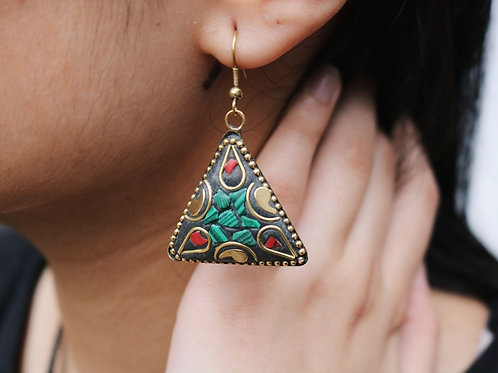 Triangle Mosaic Cut Earrings