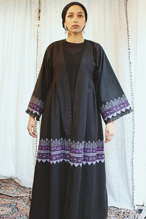 Purple Details Block Print Kimono