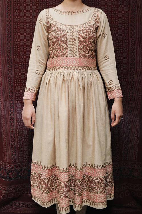 Beige Block Printed Dress