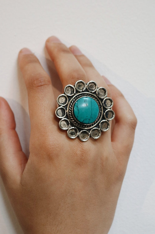 Flower Stone Nepali Rings