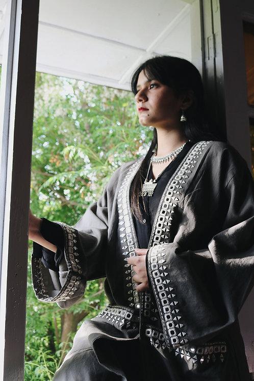 Grey Mirror Embroidered Kimono