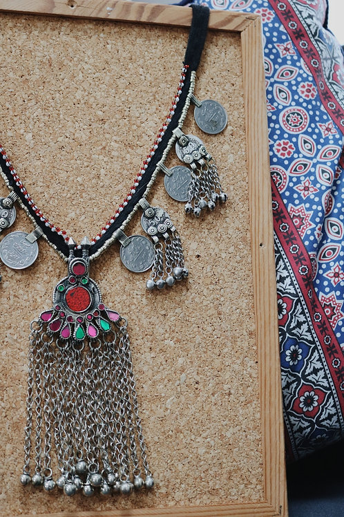 Antique Kuchi Coin Multi Jewel Stone Necklace