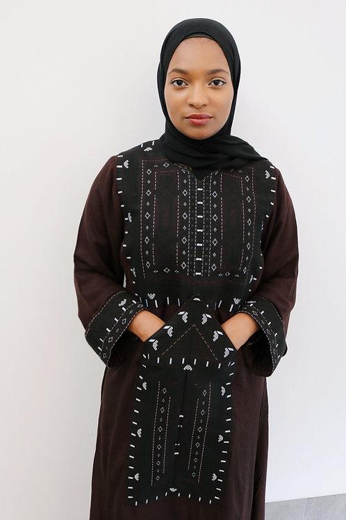 Brown Pocket Patch Dress