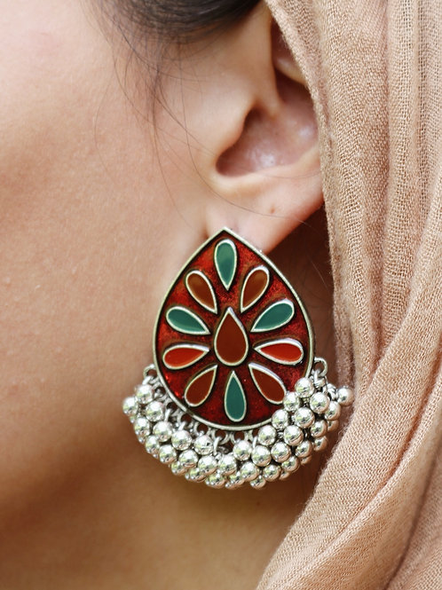 Meenakari Statement Drop Studs