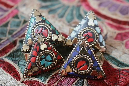 Triangle Mosaic Stone Rings