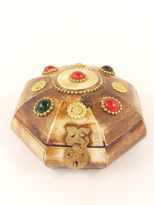 Octagon Camel Bone Jewellery Box