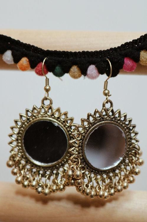 Golden Round Mirror Earrings