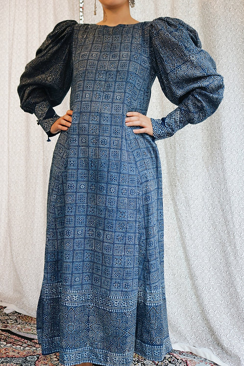 Blue Ajrak Puff Sleeve Maxi Dress