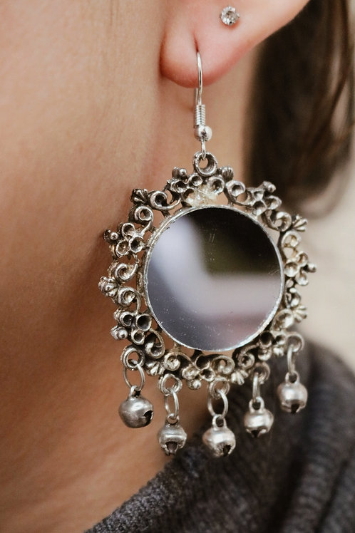 Large Round Mirror Earrings