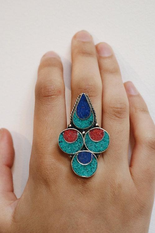Drop & Circle Shape Nepali Ring
