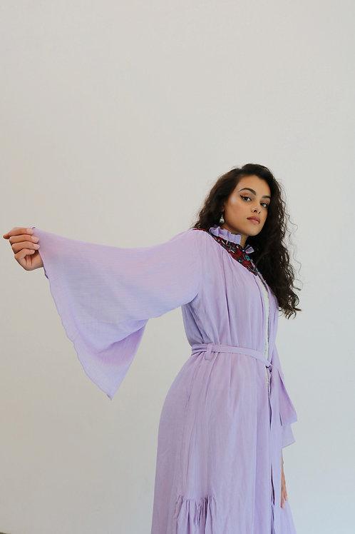 Lilac V Patch Belted Kimono